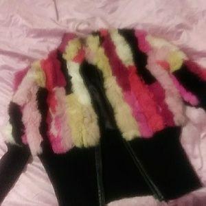Jackets & Blazers - Vintage rabbit multicolo fur and woven bomber coat